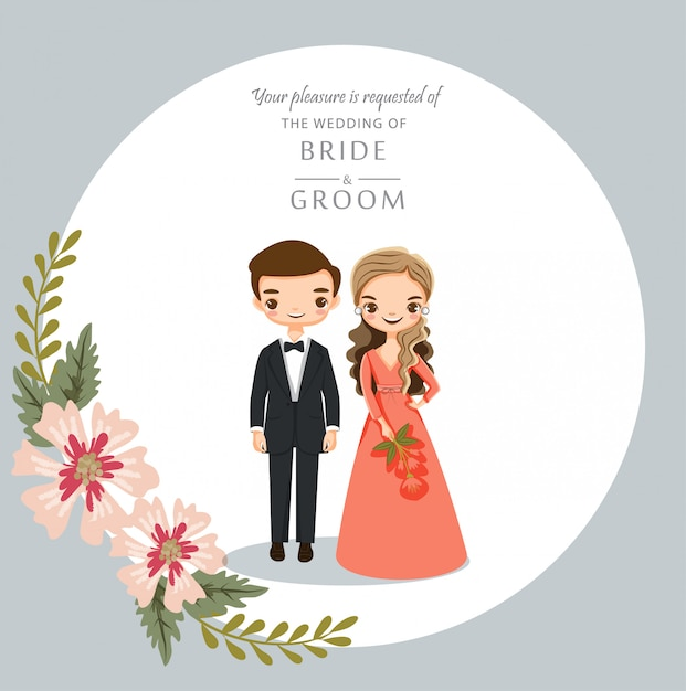 Cute Cartoon Couple For Wedding Invitations Card Premium Vector