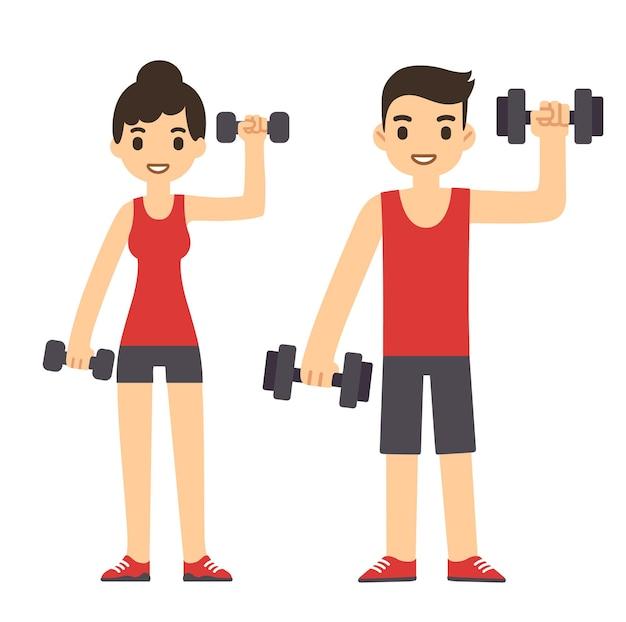 운동 아령과 귀여운 만화 커플입니다. 현대적인 단순한 평면 스타일. 프리미엄 벡터