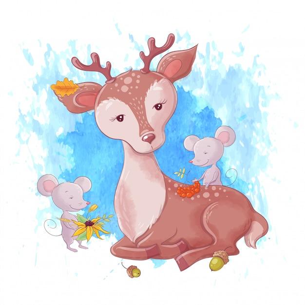 Cute cartoon deer and autumn leaves Premium Vector