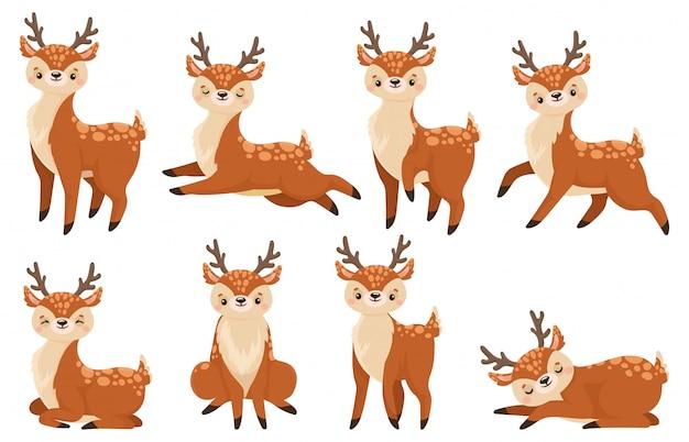 かわいい漫画の鹿。トナカイ、野生動物の子鹿、鹿子ベクトルイラストセットを実行 Premiumベクター
