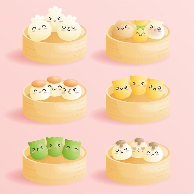 귀여운 만화 딤섬, 이모티콘 웃는 얼굴이있는 중국 전통 만두. 귀여운 아시아 음식 그림. 프리미엄 벡터