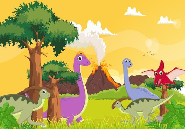 Cute cartoon dinosaur with volcano background Vector ...