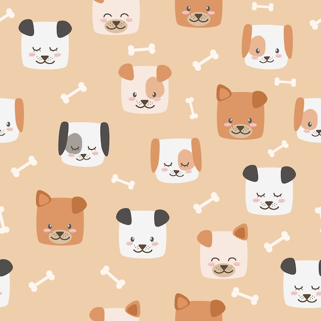 cute cartoon dog faces with bones seamless pattern