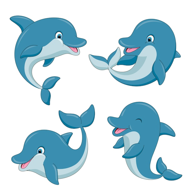 Cute cartoon dolphins set Premium Vector