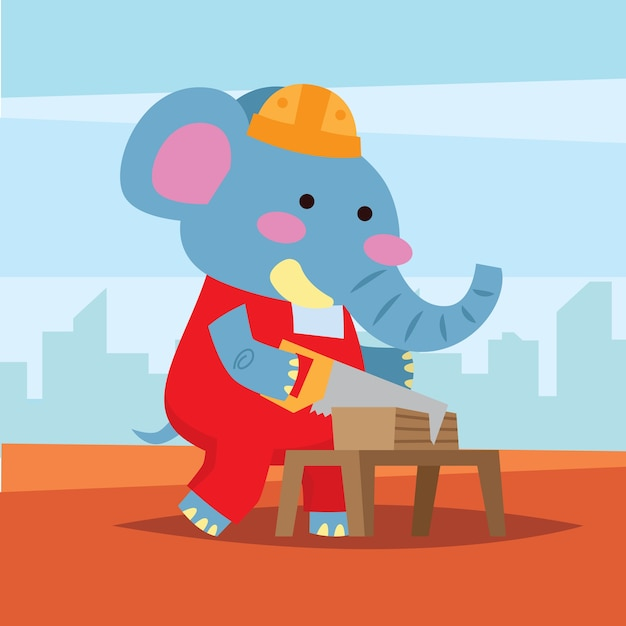 Cute Cartoon Elephant As A Construction Worker Sawing Wood Plank Using A  Hand Saw. Premium