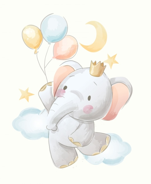 Cute Baby Elephant Sit On The Moon With Stars Water Color
