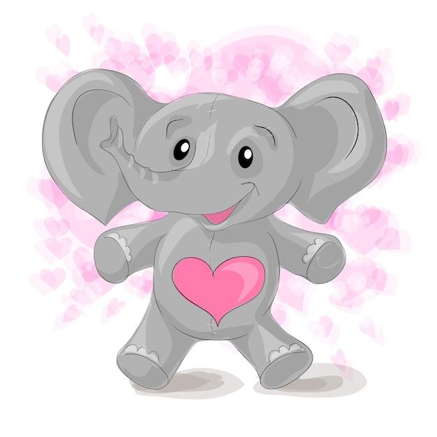 Cute cartoon elephant with hearts. Premium Vector