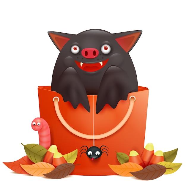 Cute cartoon emotional bat character sitting in sale bag. halloween composition Premium Vector
