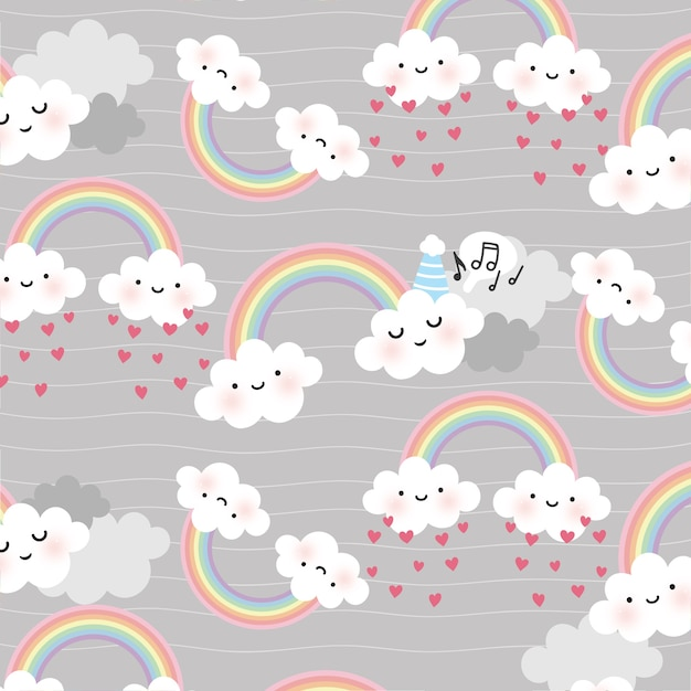 Cute cartoon face cloud vector seamless pattern Premium Vector