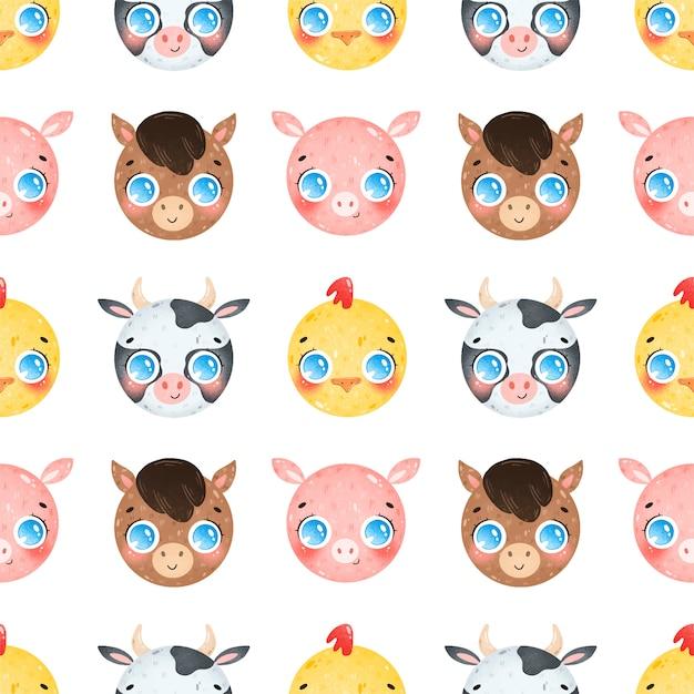 Симпатичные карикатуры лица сельскохозяйственных животных бесшовные модели. корова, лошадь, курица, свинья бесшовные модели. Premium векторы