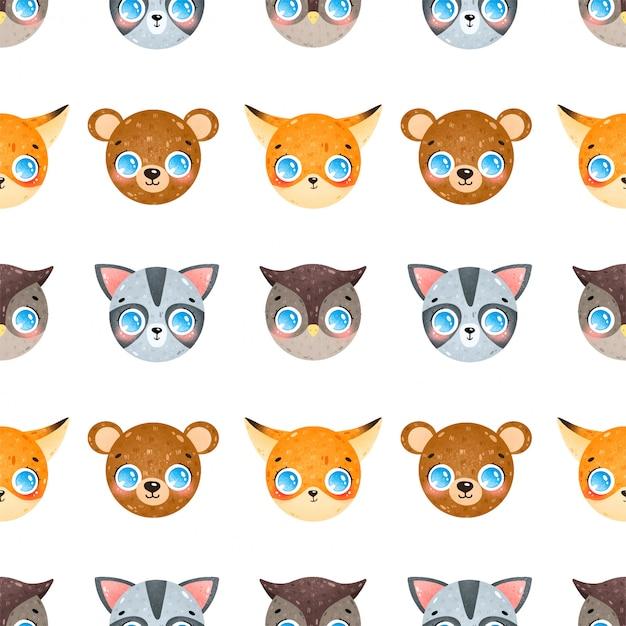 Симпатичные карикатуры лица лесных животных бесшовные модели. фокс, енот, сова, медведь бесшовные модели. Premium векторы