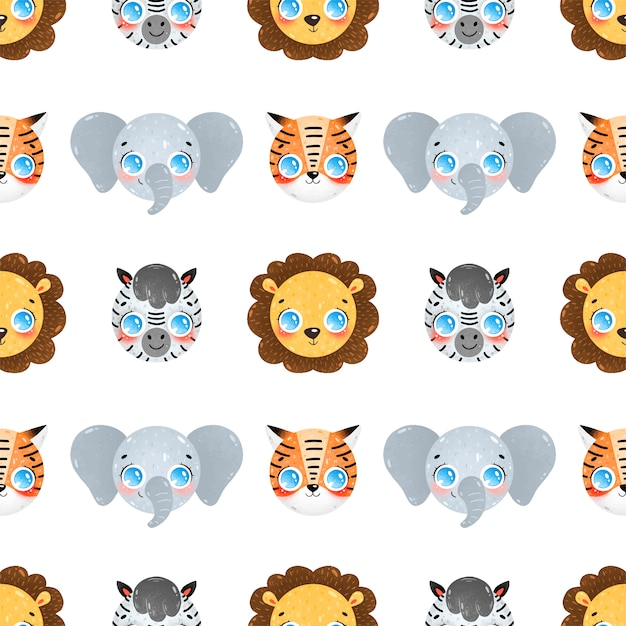Симпатичные карикатуры лица тропических животных бесшовные модели. лев, слон, зебра, тигр бесшовные модели. Premium векторы