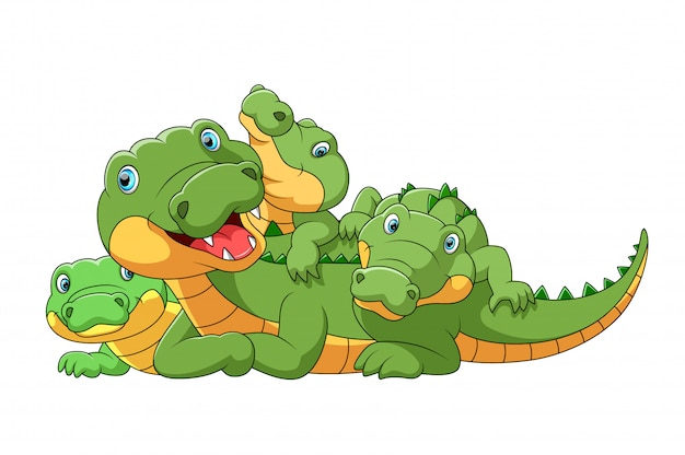 Cute cartoon family of crocodile playing together Premium Vector