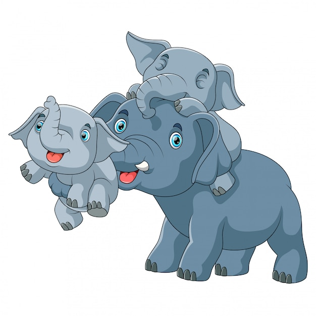 Cute cartoon family of elephant playing together Premium Vector