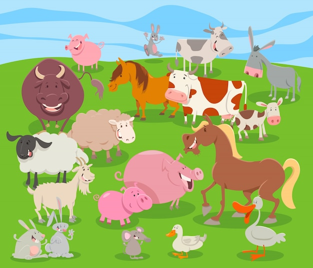 Cute cartoon farm animal characters group Premium Vector