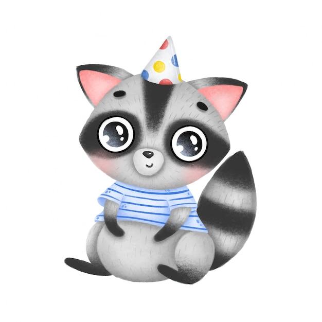 誕生日の帽子とストライプのシャツを着たかわいい漫画脂肪アライグマが座っています。 Premiumベクター