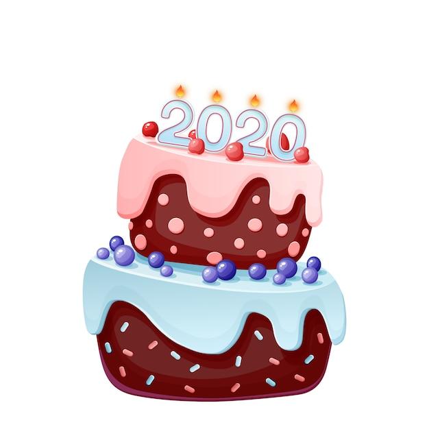Cute cartoon festive cake 2020 year Premium Vector