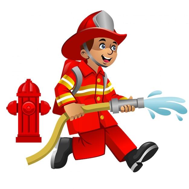 Cute cartoon of firefighter Premium Vector