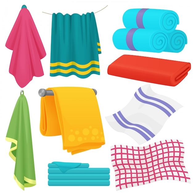 Cute cartoon folded  towels set. Premium Vector