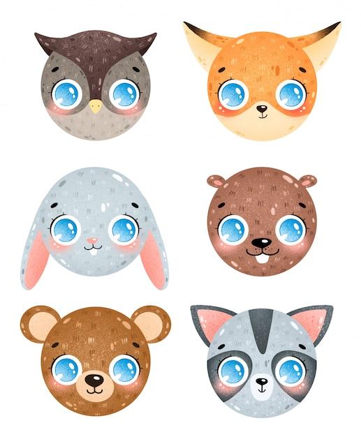 Милый мультфильм лесных животных лица иконки набор. сова, лиса, кролик, бобр, медведь, голова енота. смайлики лесных животных Premium векторы