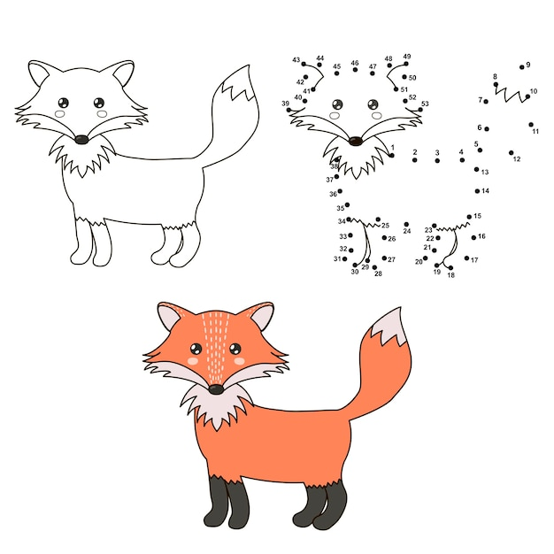 Cute cartoon fox. coloring and dot to dot educational game Premium Vector