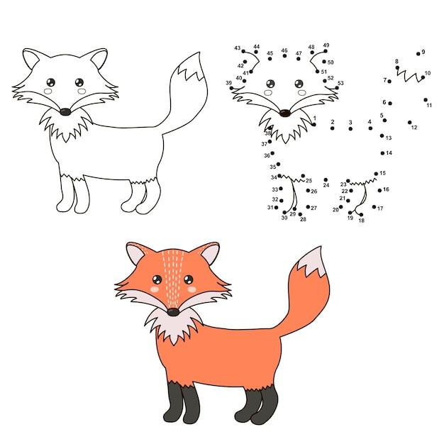 Cute cartoon fox. coloring and dot to dot educational game Premium Vector