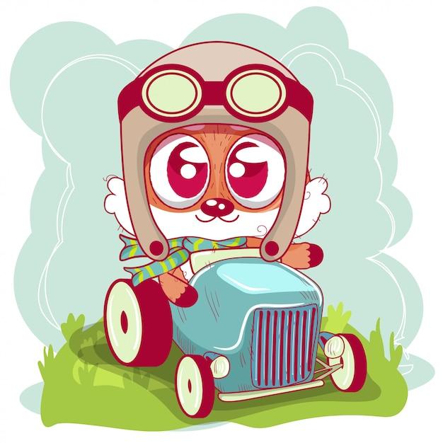 Cute cartoon fox goes on a  car Premium Vector