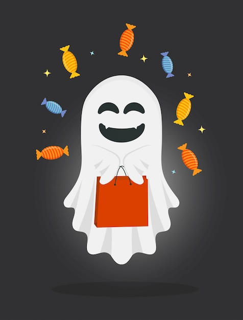 Cute cartoon ghost with bag and candies. Premium Vector