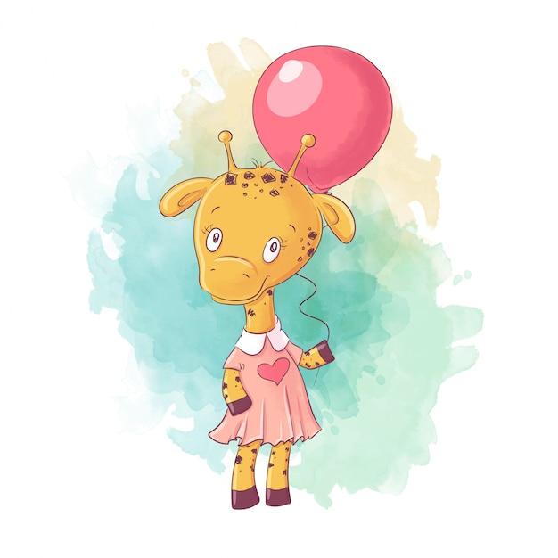 Cute cartoon giraffe girl in a dress with a balloon Premium Vector