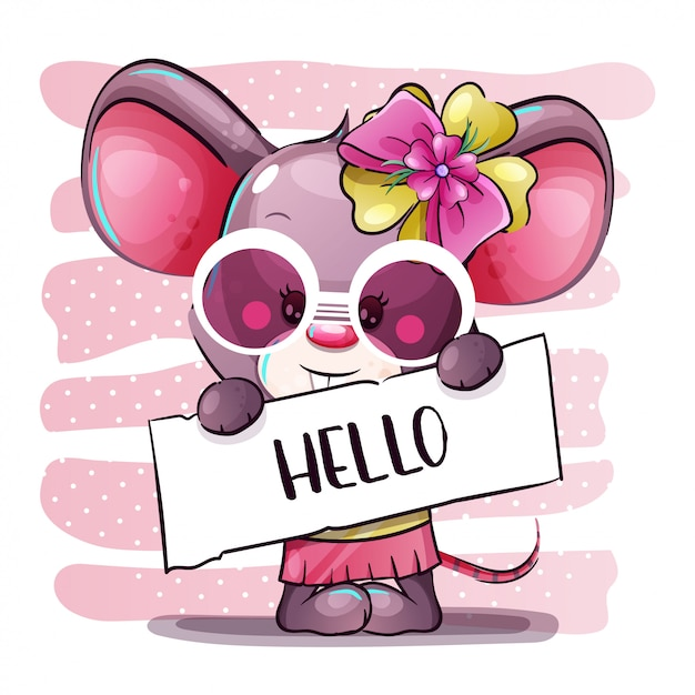Cute cartoon girl baby mouse. hand draw cartoon Premium Vector