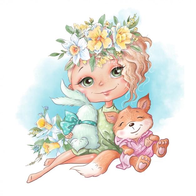 春の花とウサギとあんずの友人とかわいい漫画の女の子 Premiumベクター