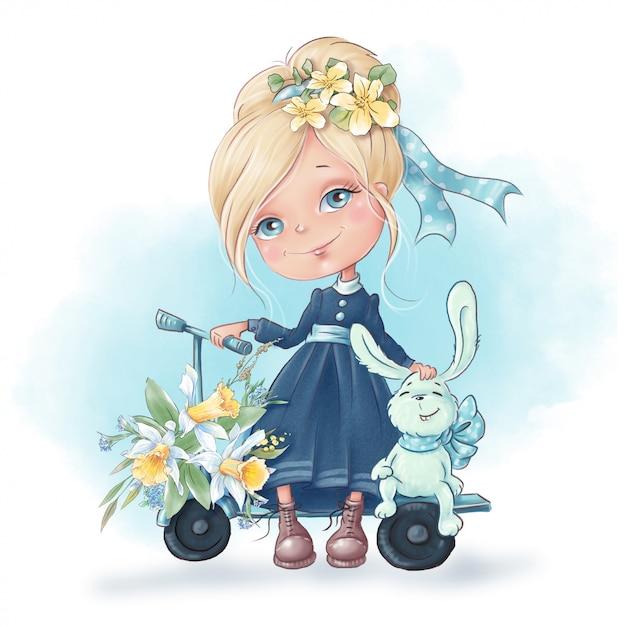 春の花とウサギの友達とかわいい漫画の女の子 Premiumベクター