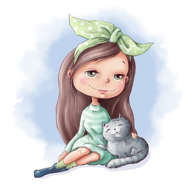 Premium Vector Cute Cartoon Girl With A Cat And Friends