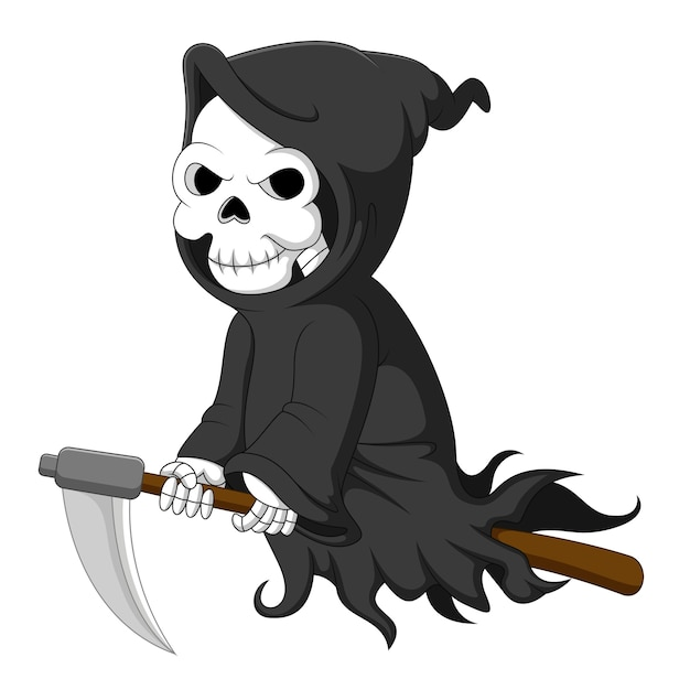 Cute cartoon grim reaper riding scythe Premium Vector