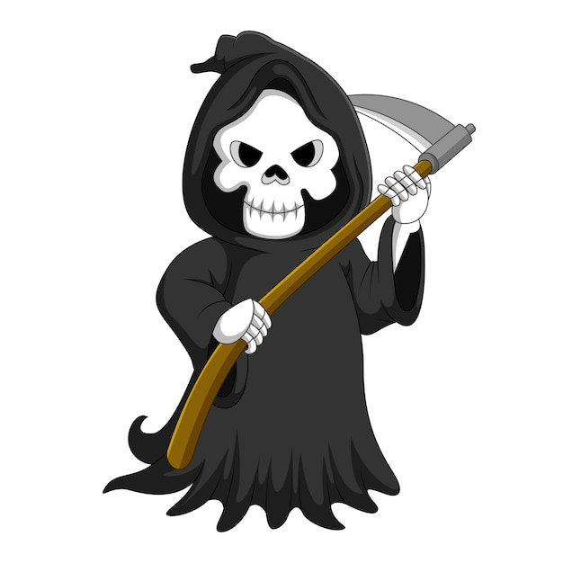 Cute cartoon grim reaper with scythe Premium Vector