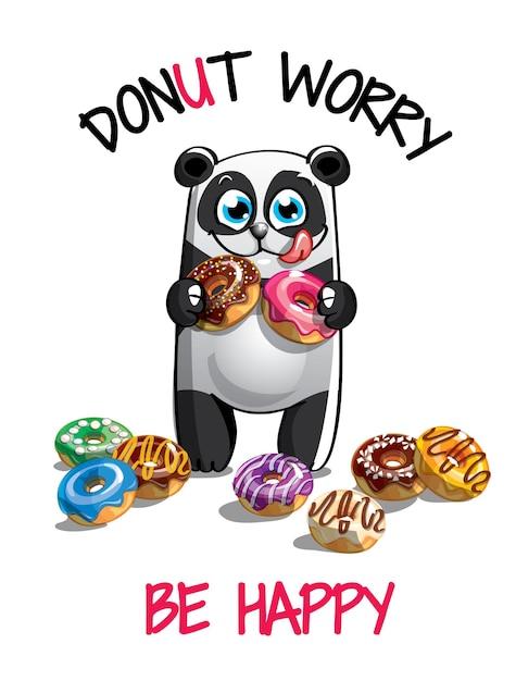 ドーナツとかわいい漫画幸せな楽しいパンダ。グリーティングカード、はがき。心配しないで、幸せになりなさい。 Premiumベクター