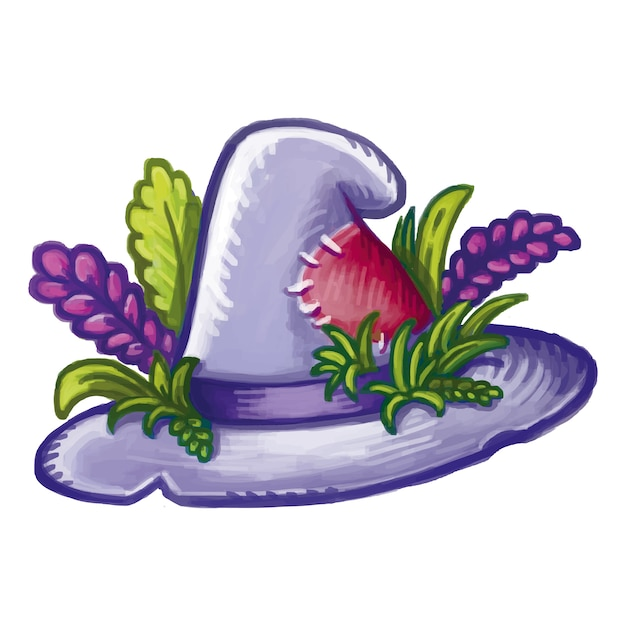 Cute cartoon hedgewitch magical hat decorated with herbs and flowers. halloween hat Premium Vector