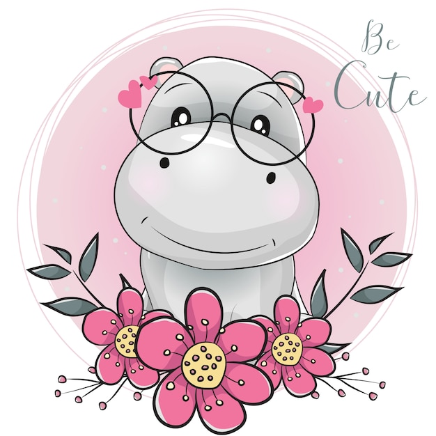 Cute cartoon hippo with flowers with pink background Premium Vector
