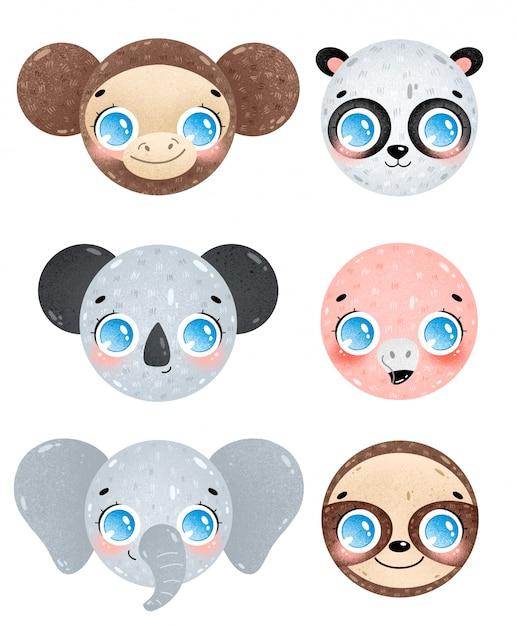 Милый мультфильм джунглей животных лица иконки набор. обезьяна, панда, коала, фламинго, слон, голова ленивца. смайлики тропических животных Premium векторы