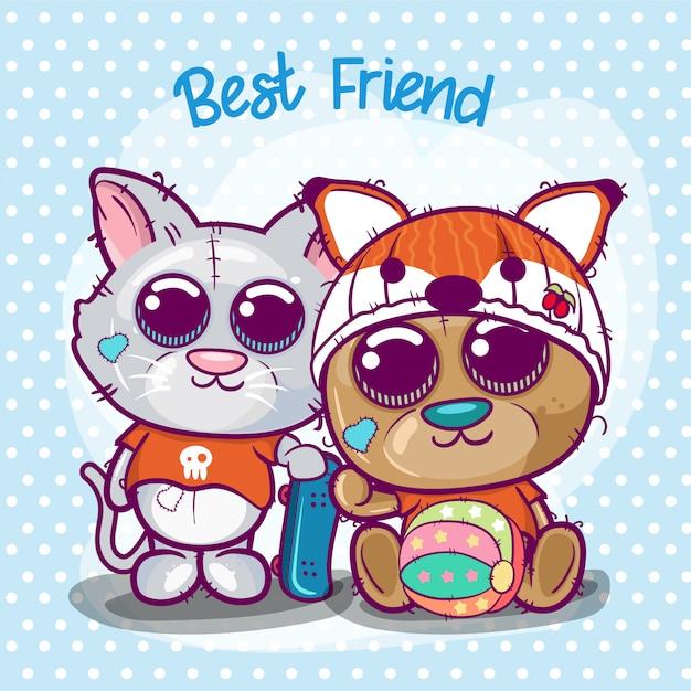 Cute cartoon kitten and bear. Premium Vector