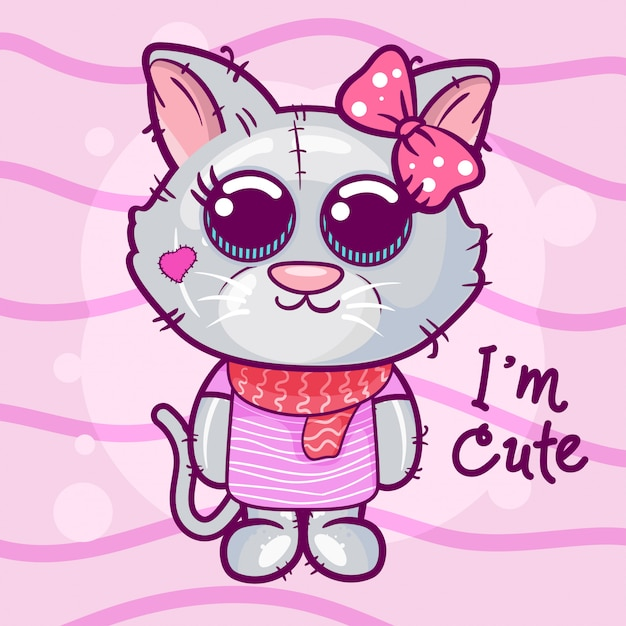 Cute cartoon kitten on a pink background. Premium Vector