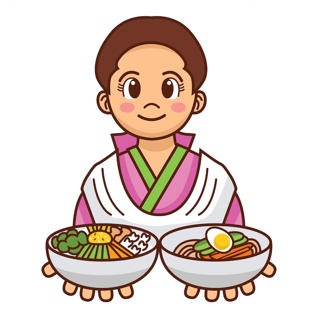 Cute cartoon korean girl in traditional cloth serving cold noodles and mixed rice bowl, Premium Vector