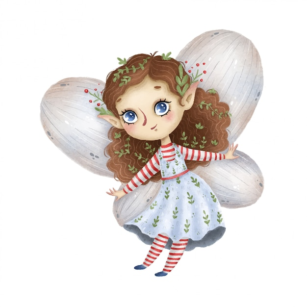 Cute cartoon little forest fairy with wings on a white background Premium Vector