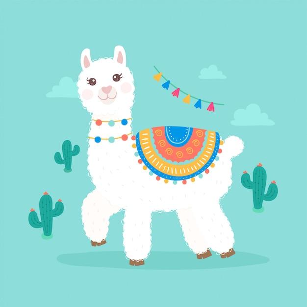 Premium Vector | Cute cartoon llama alpaca illustration