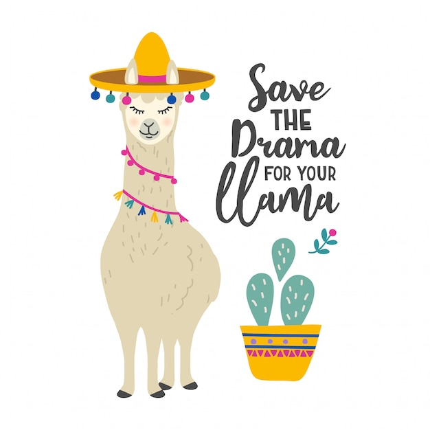 Cute Cartoon Llama Character With Motivational Quote Premium Vector