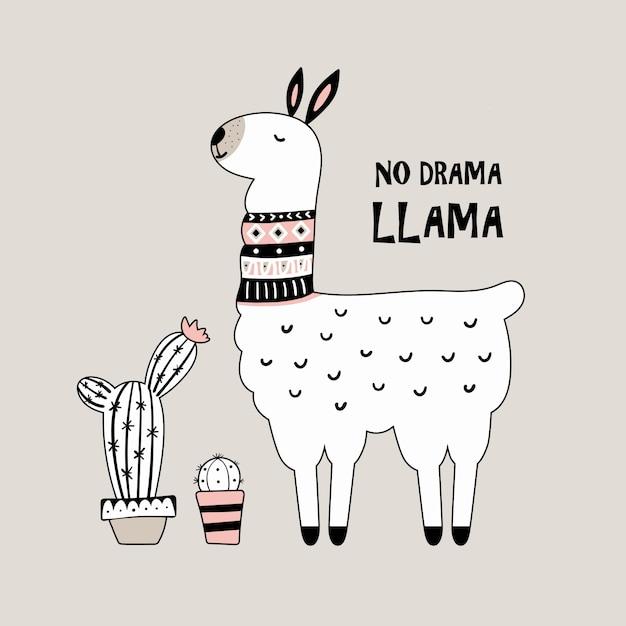 Cute cartoon llama with cactus. Premium Vector