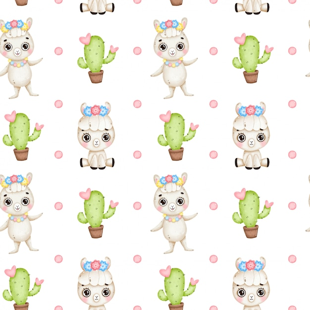 Cute cartoon llamas seamless pattern. baby llama with flowers, cactus with hearts on a white background Premium Vector