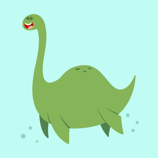 Cute cartoon loch ness monster. vector illustration of a nessie character isolated Premium Vector