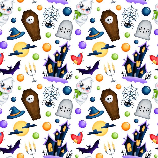 귀여운 만화 마법 할로윈 완벽 한 패턴입니다. 유령, 유령의 집, 관, 무덤, 두개골, 보름달, 박쥐, 양초, 거미 디지털 종이. 프리미엄 벡터
