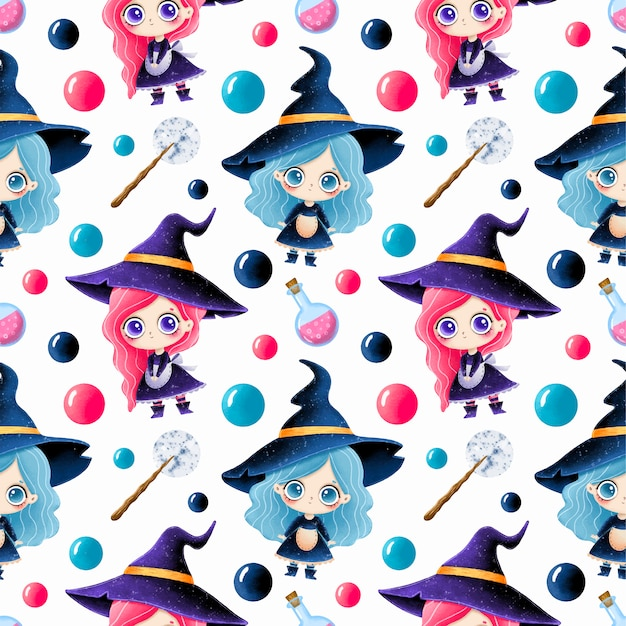 Cute cartoon magical halloween seamless pattern. cute little witches, potion and magic wand. Premium Vector